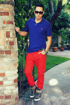ruby red jeans H&M pants - navy polo Express shirt