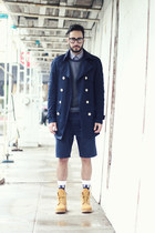 navy trench H&M jacket - camel Timberland boots - sky blue Levis sweater