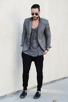 black slip on tsubo shoes - heather gray Topman blazer