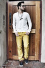 Mustard-corduroy-club-monaco-pants-navy-vans-shoes