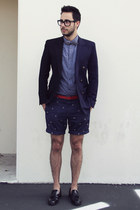 sky blue polka dot ben sherman shirt - black tassel oxfords Zara shoes