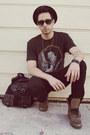 Tan-aldo-boots-black-levis-jeans-gray-jimi-hendrix-life-clothing-co-shirt