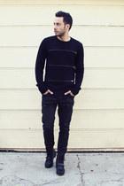 black Ralph Lauren boots - black zipper Hot Topic jeans
