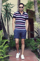 ruby red striped Lacoste shirt - navy anchor Topman shorts