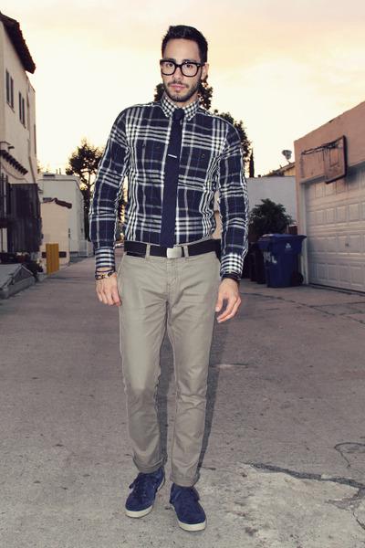 navy plaid Express shirt - beige Hot Topic pants - black Hot Topic belt