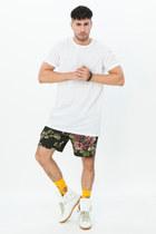 white mesh Topman shirt - black floral Jonny IV shorts