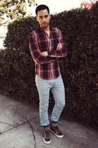 light blue custom made getwear jeans - ruby red plaid H&M shirt