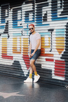 white Levis shirt - navy Uniqlo shorts - gold Richer Poorer socks