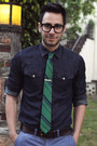 Green-stripe-ben-sherman-tie-dark-brown-brogues-zara-shoes
