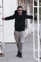black nike sneakers - dark gray Lacoste sunglasses - silver Topman pants