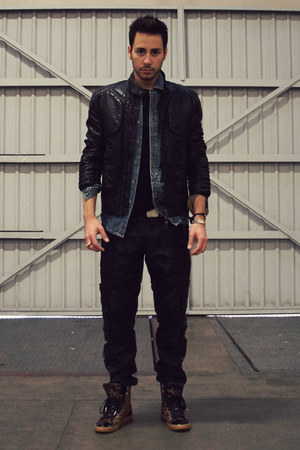 black leather Zara jacket - sky blue denim Topman shirt