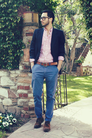 brown H&amp;M belt - dark brown brogues Zara shoes - navy Givenchy blazer