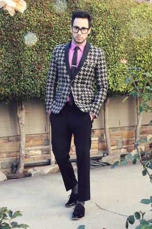 black ANTOINE & STANLEY shoes - silver houndstooth Mr Turk blazer