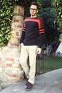 Crimson-vans-shoes-mr-turk-sweater-beige-zara-pants-black-tom-ford-glasses