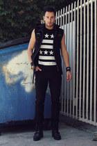 black Ralph Lauren boots - black biker Tripp NYC x The Mortal Instruments jeans