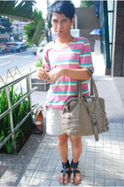 pink random shirt - white shoes - brown accessories - white Marlboro accessories