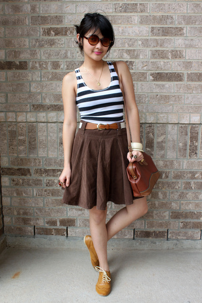 mustard shoes - tawny purse - white striped Anchor Blue top - brown skirt