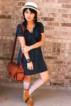 patent leather shoes - checkered Wet Seal dress - camera Cosmos bag