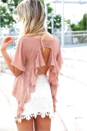 light pink backless blouse - ivory skirt