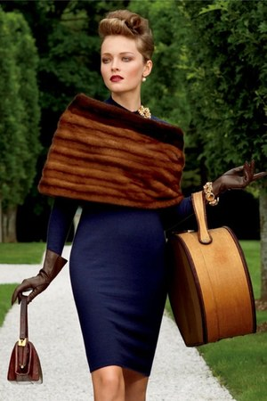 brown fur cape - navy dress - dark brown purse