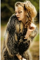 charcoal gray fur coat