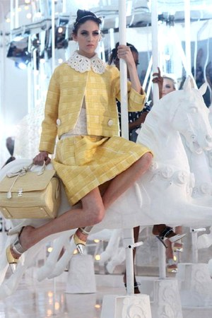 light yellow blazer - light yellow bag - light yellow skirt