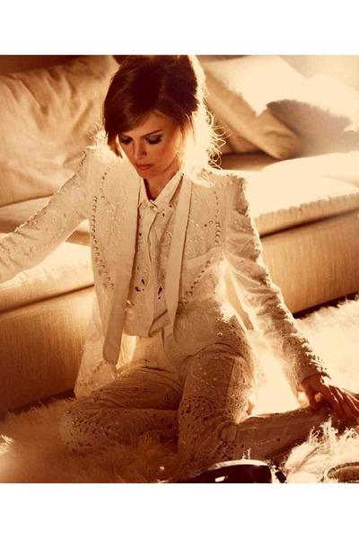 eggshell lace woman suit blazer