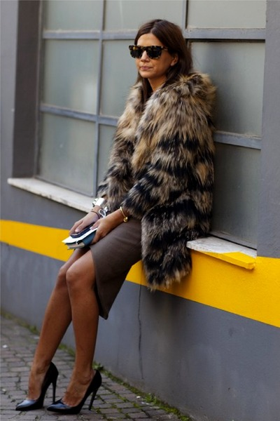 charcoal gray Faux fur coat - black heels - heather gray skirt