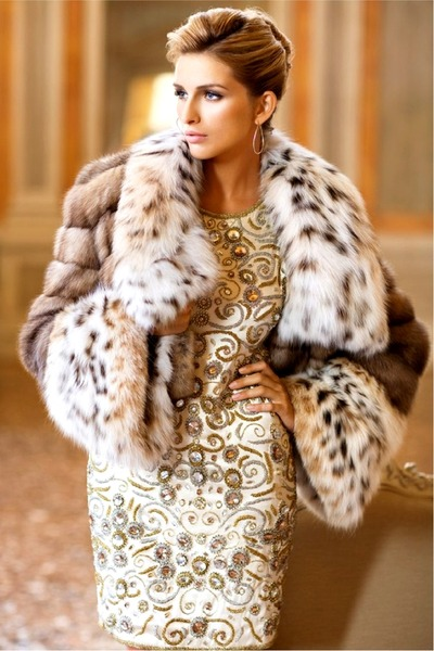light brown Faux fur jacket - cream dress