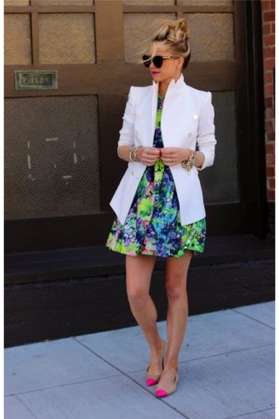white boyfriend blazer - bubble gum Zara shoes - light blue Colorful dress