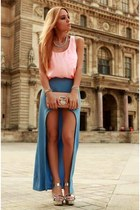 turquoise blue skirt - light pink top