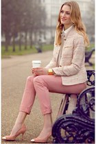 pink pants - light pink Zara shoes - light pink Zara jacket