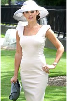 white Victoria Beckham dress - white hat