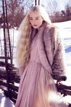 tan jacket - light pink dress