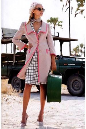light pink coat - neutral shoes - white dress - green bag