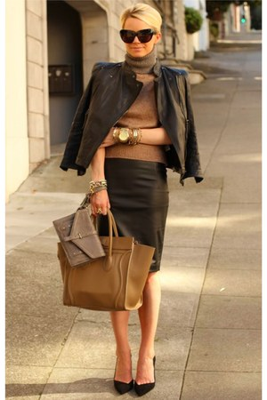 skirt - jacket - sweater - bag - bag - heels