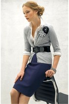 periwinkle cardigan - white shirt - navy Pencil skirt - black belt