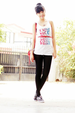 white Momoe blouse - purple sneakers - red belt
