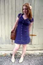 blue thrifted dress - white Urban Outfitters shoes - brown vintage bag - pink fi
