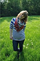 American Eagle jeans - vintage scarf - H&M top
