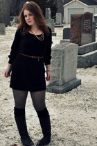 vintage boots - H&M tights - thrifted dress - H&M belt - vintage necklace