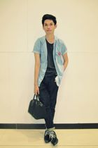 black NY & Co purse - blue Topman blazer - gray Topman shirt