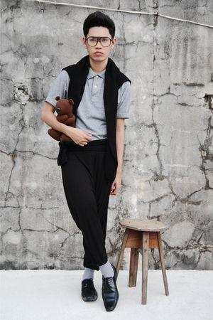 black cardigan - gray shirt - black pants - gray socks - black shoes