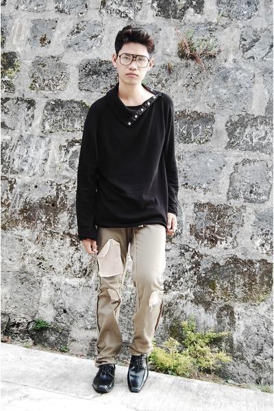 black glasses - black Esprit sweater - pants - black shoes