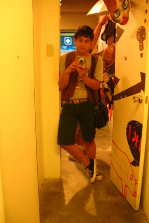 Old Navy shirt - own creation vest - Folded and Hung belt - Converse shoes - Lac