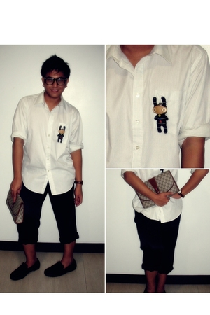 Crocodile shirt - pants - Ray Ban glasses - TODs shoes - Folded and Hung accesso