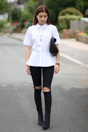 Cheap Monday boots - Topshop jeans - peplum asos shirt - Zara bag