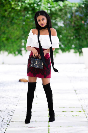 maroon baroque Iorane skirt - black over the knee Ted & Muffy boots