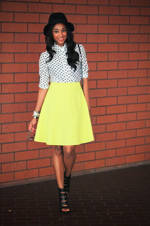 black parrins Aldo heels - white polka dot thrifted shirt