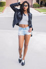 Black-express-jacket-mink-pink-shorts-black-opening-ceremony-sunglasses